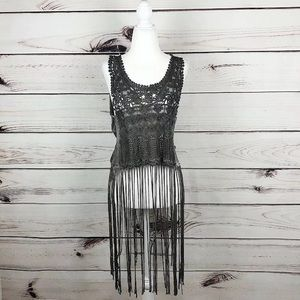 NEW! T Party Gray Lace Long Fringe Top Tank Small